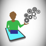 Tutor presenting the technology through mobile, this can be used for Online training, learning & presentation Royalty Free Stock Images
