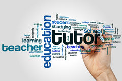 Tutor word cloud. Concept on grey background stock photo