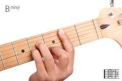 Tutorial de menor importancia del acorde de la guitarra de B Imagenes de archivo