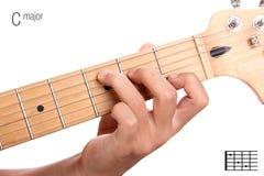 Tutorial del acorde de la guitarra del comandante de C Fotografía de archivo libre de regalías