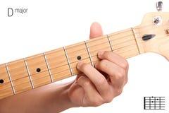 Tutorial del acorde de la guitarra del comandante de D Foto de archivo libre de regalías