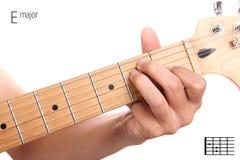 Tutorial del acorde de la guitarra del comandante de E Fotografía de archivo libre de regalías