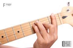 Tutorial del acorde de la guitarra del comandante de F Imagen de archivo