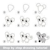 Tutorial del dibujo Cómo dibujar un pequeño ratón Imágenes de archivo libres de regalías