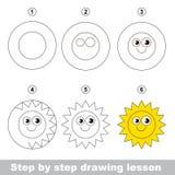 Tutorial del dibujo Cómo dibujar un Sun Imagenes de archivo