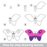 Tutorial del dibujo Cómo dibujar una mariposa Fotografía de archivo