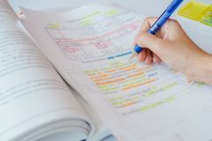 Tutorial document sheet and book for an examination royalty free stock images