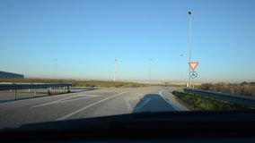 Tutorial on how to approach to roundabout. In Italy stock video footage