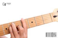 Tutorial importante agudo del acorde de la guitarra de G Imagen de archivo libre de regalías