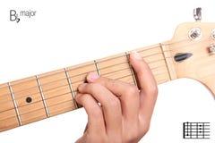 Tutorial importante plano del acorde de la guitarra de B Foto de archivo