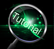 Tutorial Magnifier Indicates Educated Research And Education Stock Images