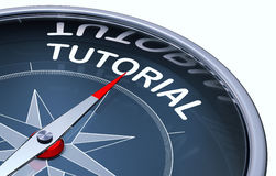 Tutorial. Picture of a compass with a tutorial icon Royalty Free Stock Photo