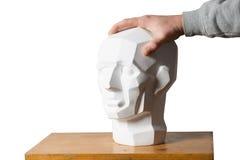 Tutorial primitive plaster head model. Copy space Stock Photos