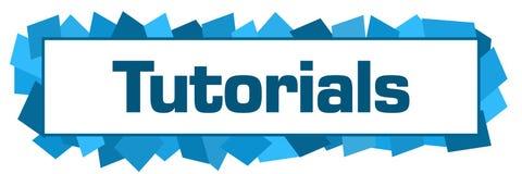 Tutorials Blue Random Shapes Horizontal. Tutorials text written over blue background Stock Photo