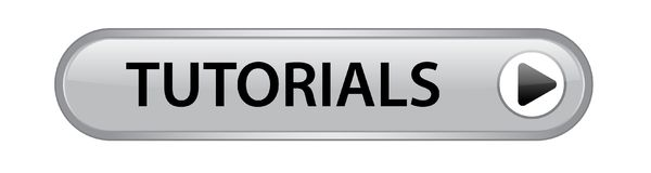 Tutorials button. Tutorials icon on computer generated web button icon on pure white background Royalty Free Stock Image
