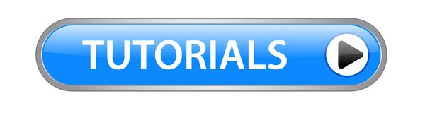 Tutorials button. Tutorials icon on computer generated web button icon on pure white background Stock Photos