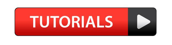 Tutorials button. Tutorials icon on computer generated web button icon on pure white background Royalty Free Stock Images