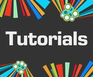 Tutorials Dark Colorful Elements Background. Tutorials text written over dark colorful background Stock Photography
