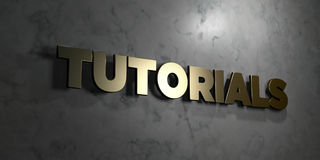 Tutorials - Gold sign mounted on glossy marble wall  - 3D rendered royalty free stock illustration. This image can be used for an online website banner ad or a Stock Images