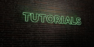 TUTORIALS -Realistic Neon Sign on Brick Wall background - 3D rendered royalty free stock image. Can be used for online banner ads and direct mailers Stock Photo