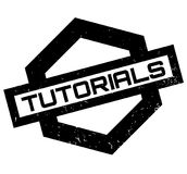 Tutorials rubber stamp. Grunge design with dust scratches. Effects can be easily removed for a clean, crisp look. Color is easily changed Stock Photo