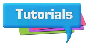 Tutorials Blue Colorful Comment Symbol. Tutorials text written over blue colorful background Stock Image
