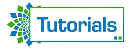 Tutorials Green Blue Circular Bar. Tutorials text written over green blue background Stock Image