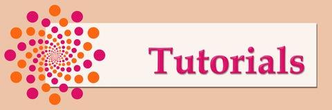 Tutorials Pink Orange White Horizontal. Tutorials text written over pink orange background Royalty Free Stock Image