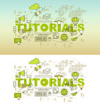 Tutorials web page banner concept with thin line flat design Royalty Free Stock Photo