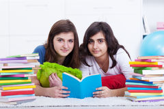 Tutoring concept - girls learning together Stock Photography