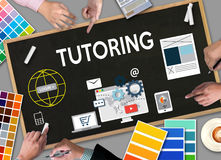 TUTORING ,  Tutor and his online education , Teaching Tutoring. Learning Education Teacher , Tutor Coach Management Royalty Free Stock Photos