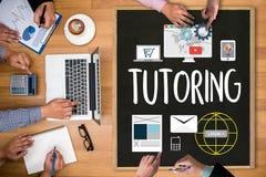 TUTORING ,  Tutor and his online education , Teaching Tutoring Royalty Free Stock Photos