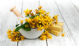 Tutsan flowers  and mortar with soap Royalty Free Stock Photo