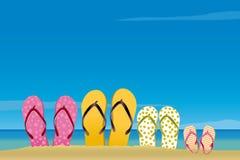 Tutta la famiglia nella spiaggia Immagini Stock