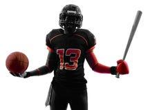 Tutta la siluetta del giocatore di football americano di sport degli americani immagini stock