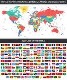 Tutte le bandiere del mondo in ordine alfabetico e della mappa di mondo dettagliata con i confini, paesi, grandi città illustrazione di stock