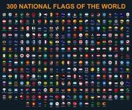 Tutte le bandiere del mondo in ordine alfabetico Giro, stile lucido del cerchio royalty illustrazione gratis