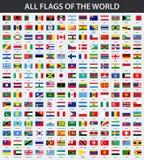 Tutte le bandiere del mondo in ordine alfabetico Stile lucido di rettangolo illustrazione vettoriale