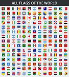 Tutte le bandiere del mondo in ordine alfabetico Stile lucido quadrato illustrazione di stock
