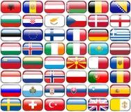 Tutte le bandiere dell'europeo - bottoni lucidi di rettangolo Fotografie Stock