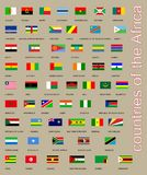 Tutte le bandiere della raccolta dei paesi dell'Africa Fotografia Stock
