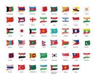 Tutte le bandiere di Asain Immagini Stock