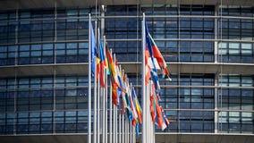 Tutte le bandiere di Unione Europea Strasburgo Strasburg Fotografia Stock