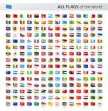 Tutte le bandiere di vettore dell'etichetta del mondo - raccolta Immagine Stock Libera da Diritti