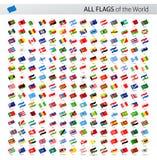 Tutte le bandiere di vettore di ondeggiamento del mondo - raccolta Fotografia Stock Libera da Diritti
