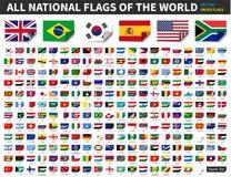 Tutte le bandiere nazionali del mondo Progettazione di carta con la curvatura all'angolo Vettore degli elementi illustrazione di stock