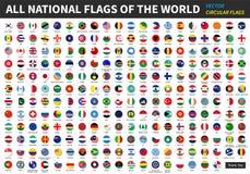 Tutte le bandiere nazionali ufficiali del mondo Progettazione circolare illustrazione vettoriale