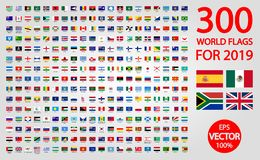 Tutte le bandiere nazionali ufficiali del mondo Progettazione circolare illustrazione di stock