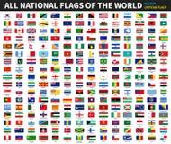 Tutte le bandiere nazionali ufficiali del mondo Progettazione convenzionale Vettore illustrazione vettoriale