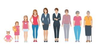 Tutte le donne della generazione di età messe illustrazione di stock